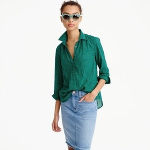 J. Crew Tops - J.Crew Gathered Popover Shirt in Two-Tone Gingham